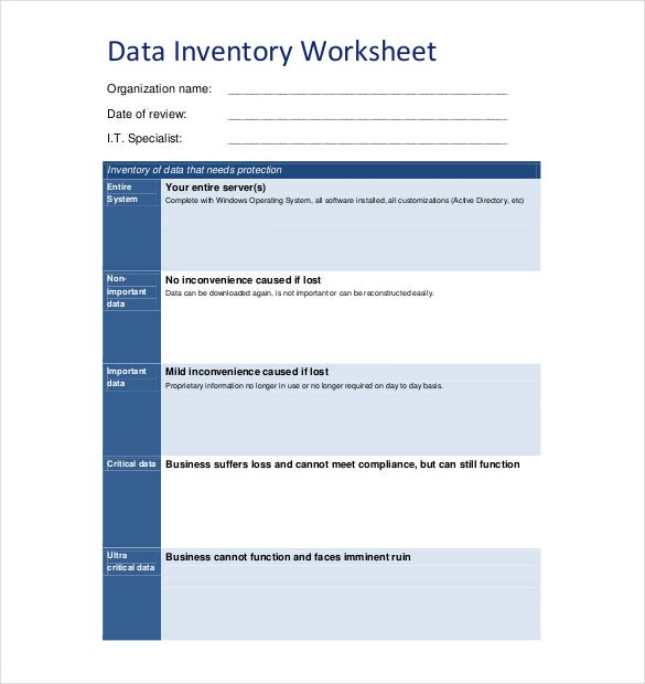 data inventory worksheet pdf