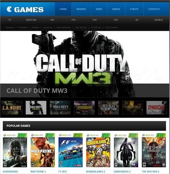 people gaming website template