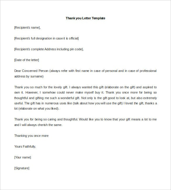 sample thank you letter template free word doc
