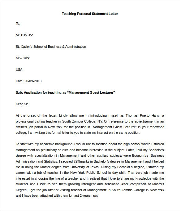 sample teaching personal statement letter template download details file format