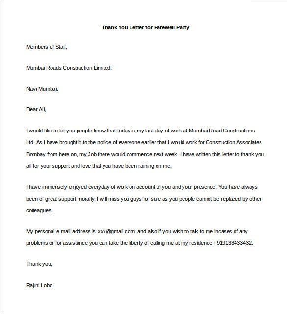 sample thank you letter for farewell party word format