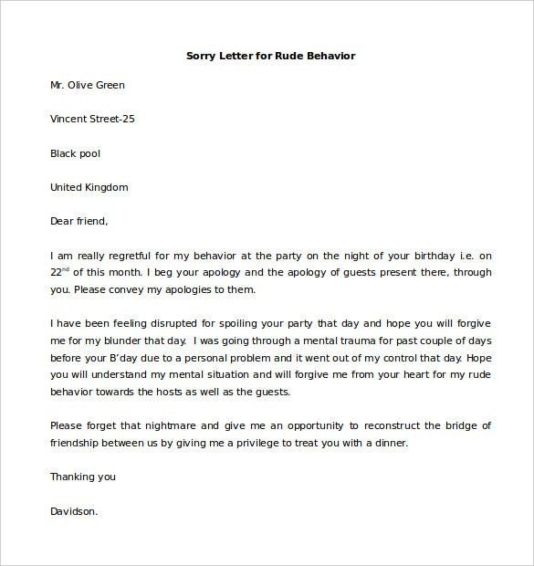 sample sorry letter for rude behavior template free download