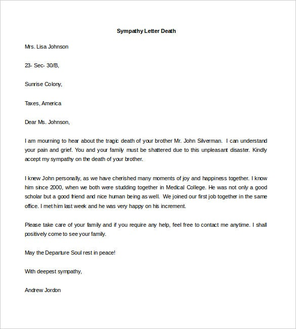 Personal Letter Template 41 Free Sample Example Format – Formal Condolences Letter