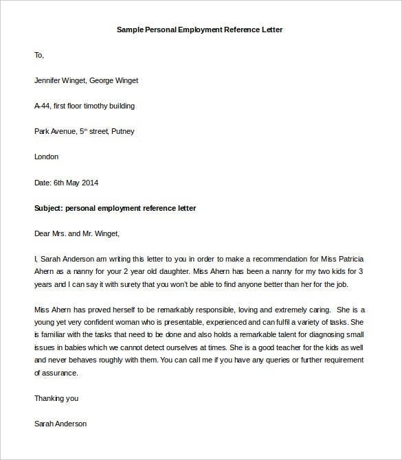 sample personal employment reference letter template download
