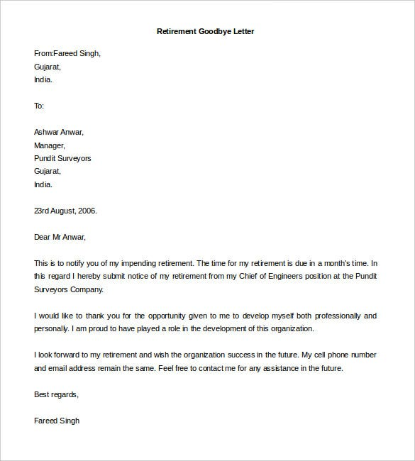 retirement goodbye letter template sample download