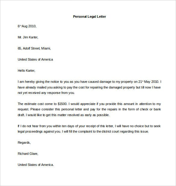 Charming Sample Personal Legal Letter Template Word Printable Awesome Design