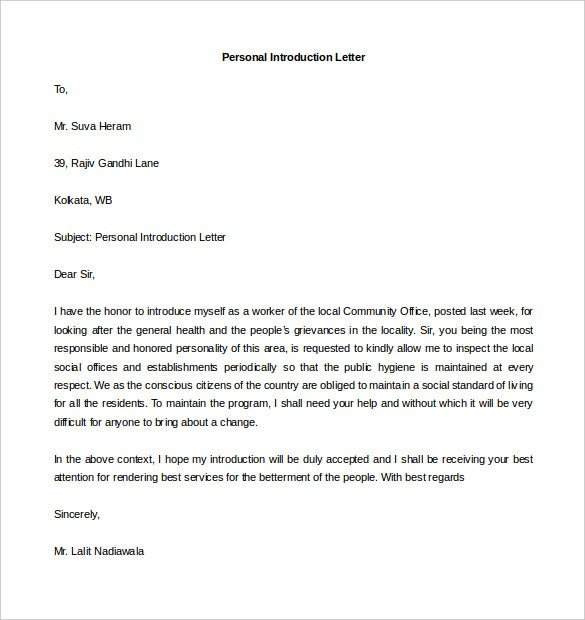 sample personal introduction letter template download