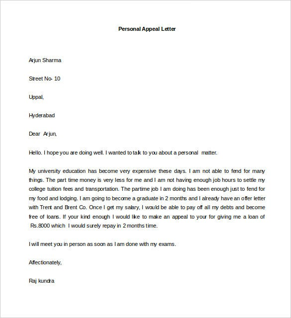 sample personal appeal letter template in word