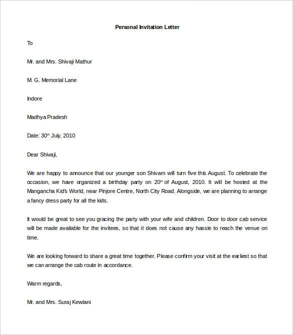 example of personal letter format   Hadi.palmex.co