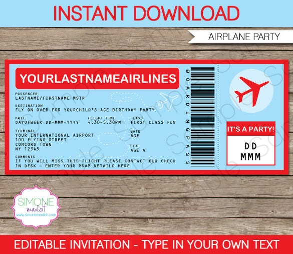 editable airplane boarding pass invitation template
