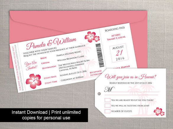 Boarding Pass Invitation Template Free PSD Format Download - Boarding pass wedding invitation template