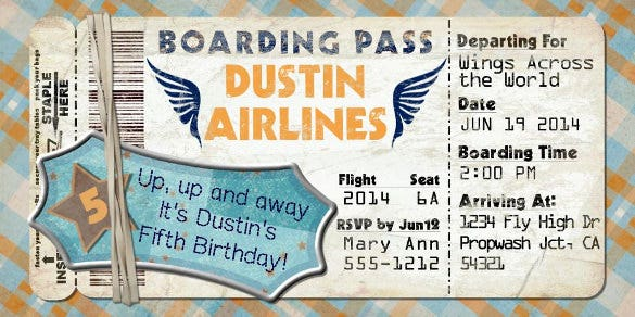 navy blue planes boarding pass invitation template