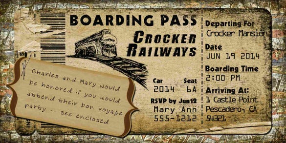 vintage theme train boarding pass invitation template