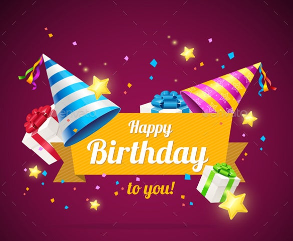Colorful Background Birthday Card Template Free Download