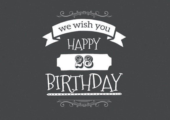 28th Birthday Card Template Free Download