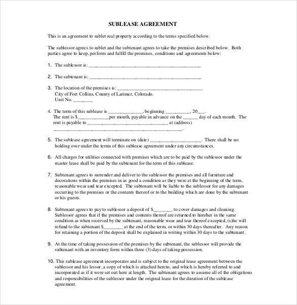 sublease agreement template 10 free word pdf document