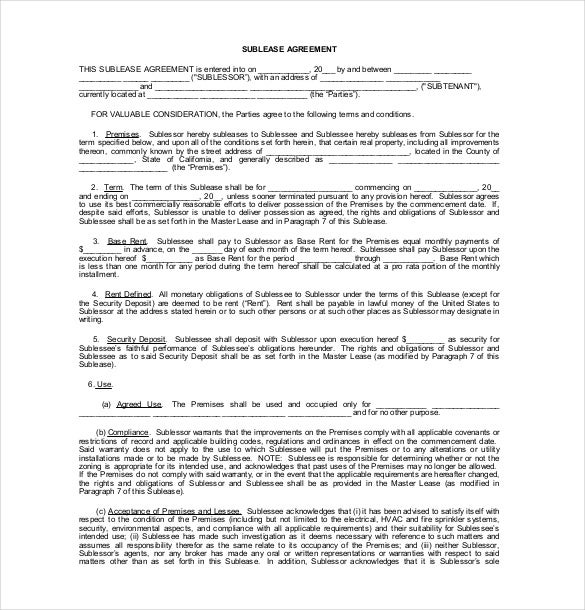 Sublease Agreement Template 9 Free Word PDF Document Download – Sublet Agreement Template
