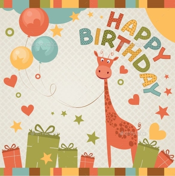 Happy Birthday Card Template With Cartton Images  Happy Birthday Cards Templates