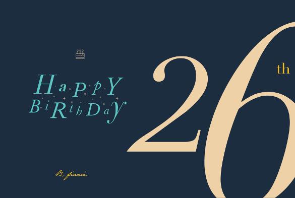 26th birthday card template
