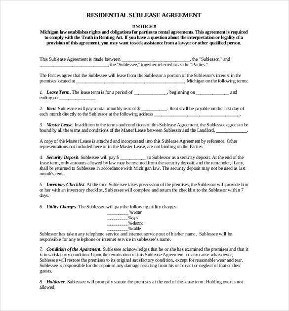 Sublease Agreement Template Free Word PDF Document Download - Free sublease agreement template