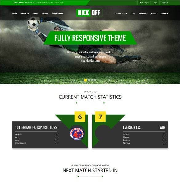 sports club wordpress website theme