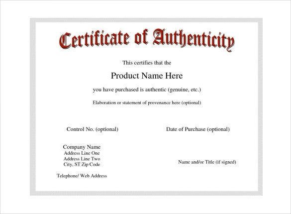 Certificate of authenticity template certificate for Certificates of authenticity templates