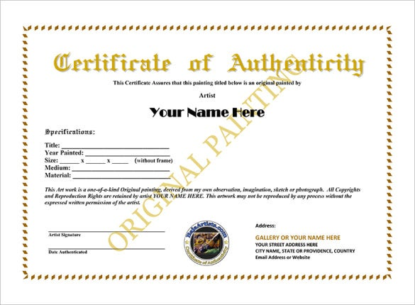 Certificate of authenticity template certificate for Certificate of authenticity template microsoft word