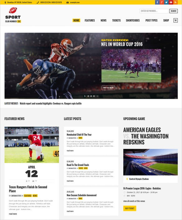 football soccer sport news website theme