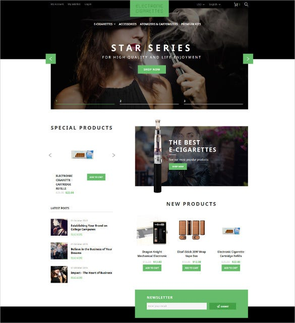 electronic cigarettes magento website theme