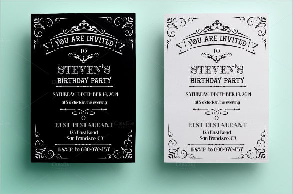 Vintage Birthday Invitation Template Download  Invites Template