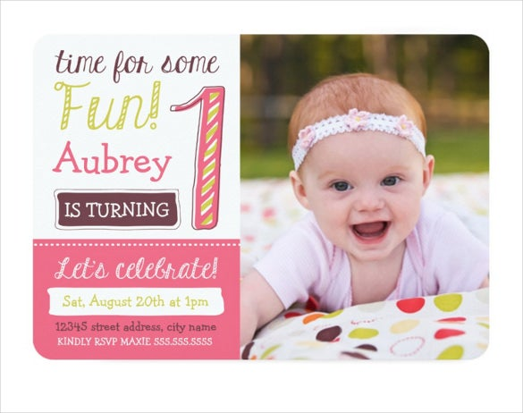 brightpink 1st birthday invitation template