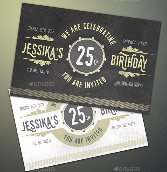 Birthday Invitation Templates Free Sample Example Format - 25th birthday invitation templates