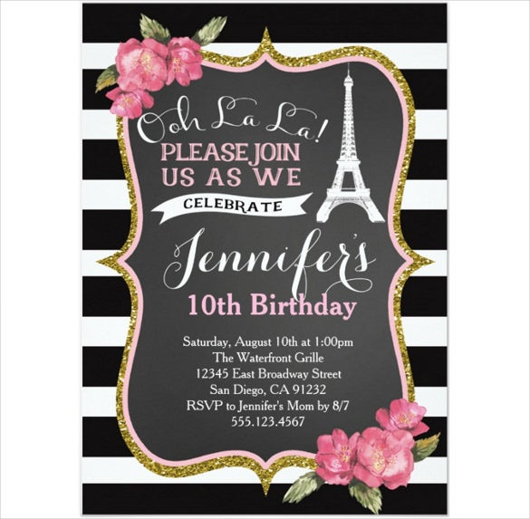 birthday party invitation template with eiffel tower