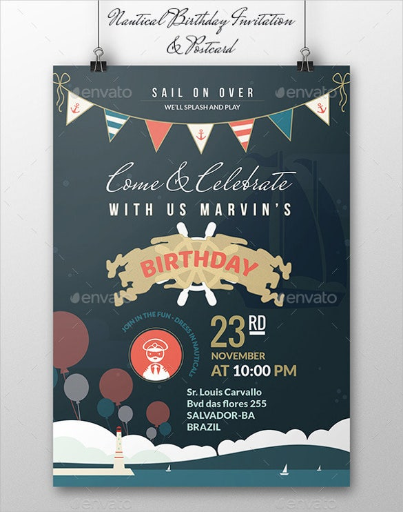 Nautical Birthday Invitation Template Free Download  Invites Template