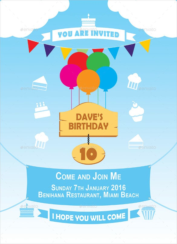 ready to edit birthday invitation template