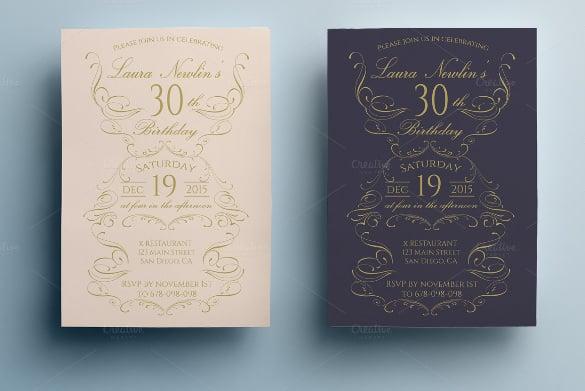 set of 2 elegant birthday invitation templates
