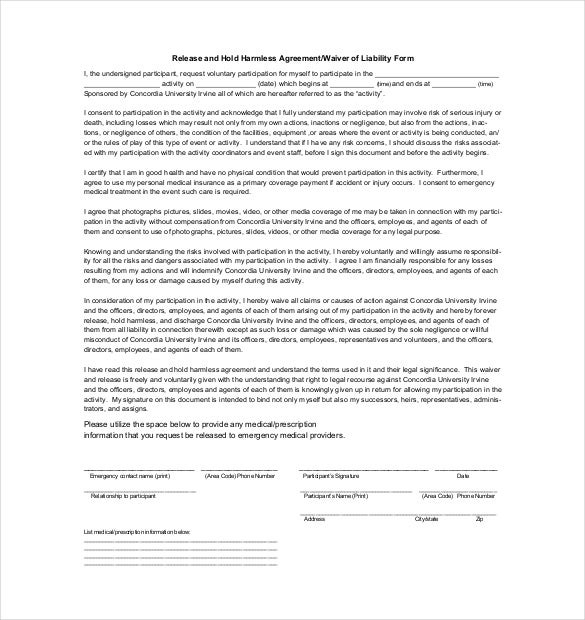 hold harmless agreement of liability form