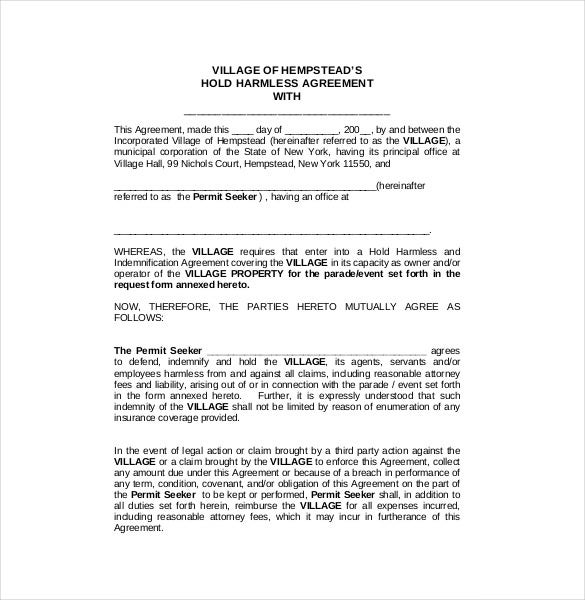 Hold Harmless Agreement Template 14 Free Word Pdf