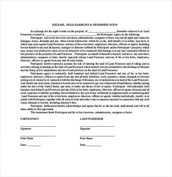 Hold Harmless Agreement Template – 13+ Free Word, Pdf Document
