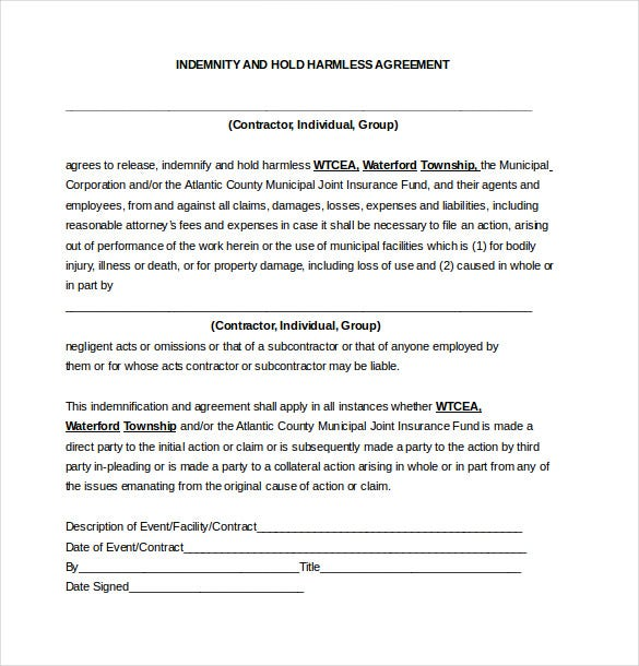 Hold Harmless Agreement Template   Free Word Pdf Document