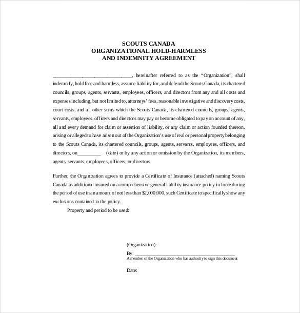 Hold Harmless Agreement Template 13 Free Word PDF Document – Indemnity Template