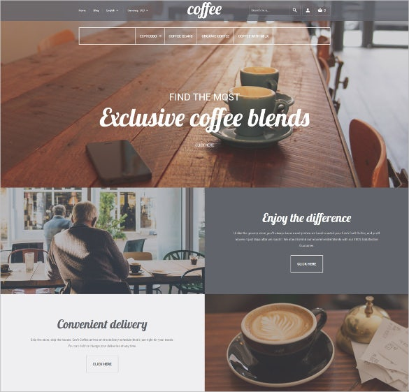 coffee shop responsive magento website theme