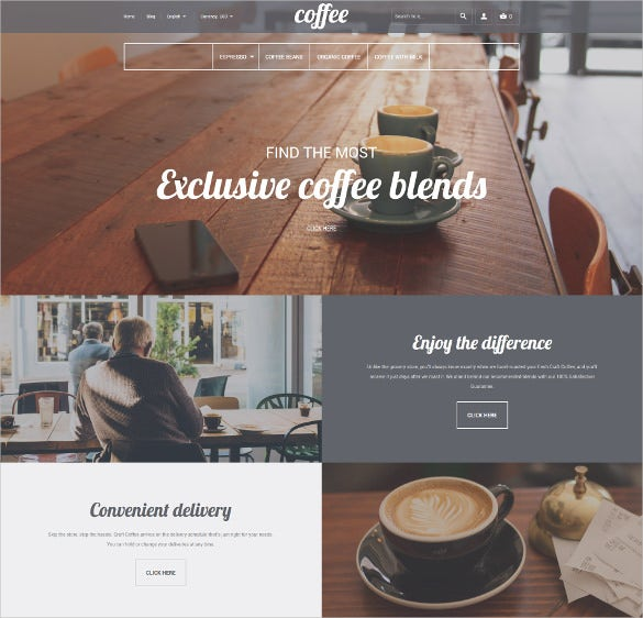 coffee shop responsive magento ecommerce webiste theme