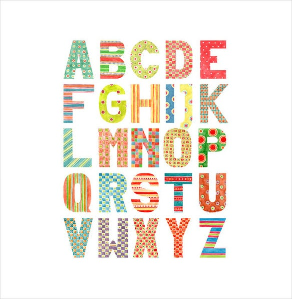 uppercase alphabet watercolour pattern template download