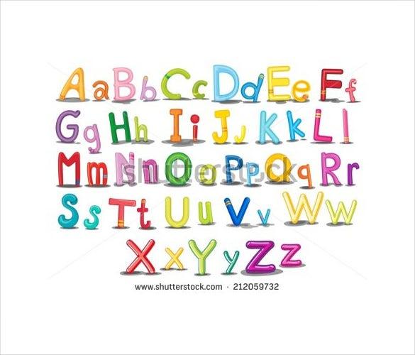 illustration of colorful english alphabets download