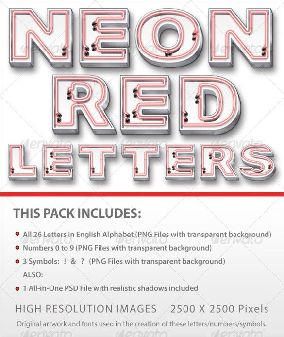 neon red letter template download
