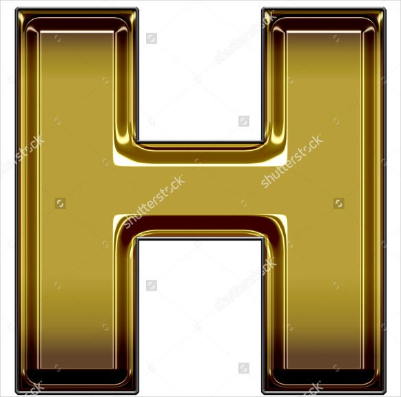 gold upper case h template