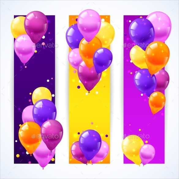 colorful balloons birthday banner vertical