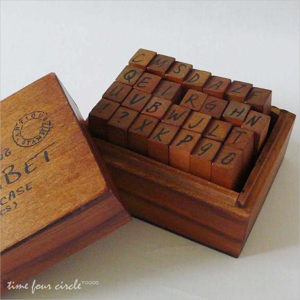 vintage style wood stamp set alphabet upper case letter