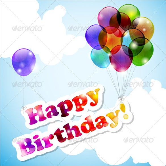 flying balloons happy birthday banner